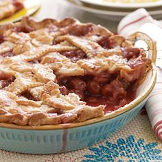Sour Cherry Pie | MyRecipes.com ~ An intricate lattice pie crust is beautiful, but there's an easier way! Simply lay half the lattice strips across pie filling in one direction, then lay the remaining strips at right angles. No weaving required.