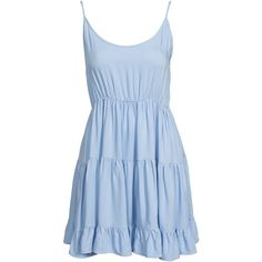 Nly Blush Ruffle Dress ($21) ❤ liked on Polyvore featuring dresses, vestidos, blue, party dresses, womens-fashion, flutter dress, viscose dress, rayon dress, flouncy dress and cut-off