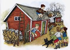"The children from Astrid Lindgren´s ""Bullerbyn"". Illustration by Ilon Wikland"