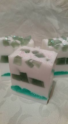 Green Jelly Soap in layers and Green Jelly Soap embeds in Goats Milk Soap.Scented in Aloe & Cucumber