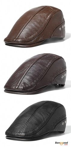 b93b43af95c Mens Man-made Leather Solid Beret Hat Casual Autumn Warm Golf Forward Caps  Adjustable. Men s winter style