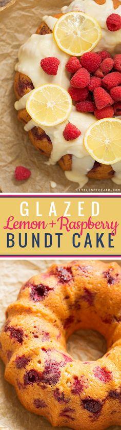 Glazed Lemon Raspberry Bundt Cake - A simple, tender bundt cake with pops of lemon zest and juicy raspberries! Eggs, Greek yogurt, fruit - it's practically a breakfast food! Lemon Raspberry Muffins, Raspberry Desserts, Just Desserts, Delicious Desserts, Party Desserts, Bunt Cakes, Cupcake Cakes, Cupcakes, Deserts