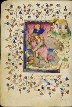 Saint Christophe. Livre d'heures à l'usage de Rome les Maîtres de Guillebert de Mets, enlumineurs, Pays-Bas méridionaux, Gand (?), entre 1409 et 1419.