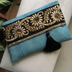 Sky blue bohemian clutch Bohemian Clutch Boho Bag Fashion Bag Woman handbag gift for her Clutch purse Ethnic Clutch Handmade gift Pochette Diy, Jute Fabric, Floral Clutches, Wedding Clutch, Boho Bags, Clutch Purse, Handbag Accessories, Evening Bags, Fashion Bags