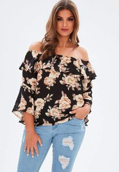 4a5656c8838 Missguided Curve Black Bardot Frill Printed Blouse Plus Size Fashion For  Women