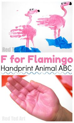 Handprint Flamingo Craft for Preschoolers. A fun way to explore the Animal ABC - Handprint Crafts for toddlers - love this F is for Flamingo Handprint Kindergarten Crafts, Daycare Crafts, Baby Crafts, Preschool Crafts, Kids Crafts, Zoo Preschool, Preschool Alphabet, Quick Crafts, Alphabet Activities