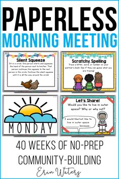 40 weeks of morning meetings (each day includes Message Greeting Share & Activity components); no prep engaging whiteboard-based digital paperless First Grade Classroom, Kindergarten Classroom, Classroom Activities, Classroom Organization, Classroom Management, Classroom Ideas, Classroom Meeting, Future Classroom, Classroom Helpers