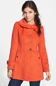 Tulle Bow Collar Textured Coat    Nordstrom Excited to wear this beauty for winter! Hoping it fits.