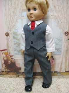 """Charcoal Vest Outfit with Shoes* for 18"""" Boy Dolls from iris4179"""