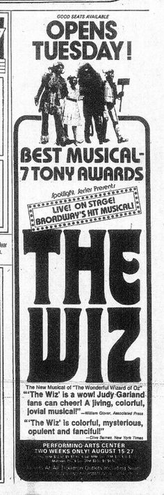 """Promotional Ad for the 1978 Premiere Milwaukee Production of the William F. Brown / Charlie Smalls musical """"The Wiz"""" at Uihlein Hall at the Marcus Performing Arts Center."""