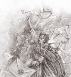 Fantastic sketch of Vernon pulling Harry away from his Hogwarts letters. Chapter 3 'Letters from no one' - Potttermore pictures