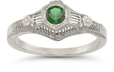 Vintage Floral Emerald Ring in 14K White Gold Gemstone Jewelry $599.00