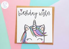 The best unicorn birthday card you'll find! Super cute unicorn illustration, hand embellished with glitter. For magical birthday wishes for any unicorn lovers you know. Unicorn Birthday Cards, Cool Birthday Cards, Birthday Cards For Friends, Birthday Card Design, Bday Cards, Handmade Birthday Cards, Unicorn Cards, Diy Birthday, Birthday Card For Girl