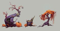 Halloween trees by Nieris.deviantart.com on @DeviantArt