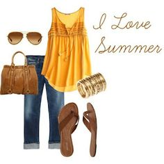 yellow tank & capris, summer outfit <3