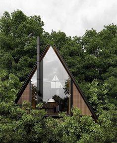 L- house por # architect # architecture # design # alex_nerovnya, Tiny House Cabin, Tiny House Design, Cabin Homes, A Frame Cabin, A Frame House, Cabins In The Woods, House In The Woods, Architecture Design, Design Architect