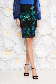 StarShinerS blue occasional midi pencil skirt with sequins with inside lining, sequin embellished details, inside lining, tented cut, elastic fabric, net