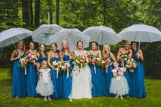 blue bridesmaid dresses - photo by Teale Photography http://ruffledblog.com/old-edwards-inn-wedding