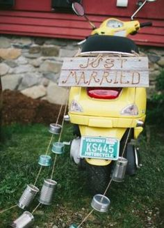 "The getaway ""car"" - a scooter decorated for the occasion"