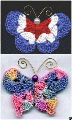 25 Crochet Butterfly Free Patterns [Picture Instructions] Mary G Kostenlos Crochet Butterfly Model Crochet Diy, Crochet Amigurumi, Crochet Motifs, Crochet Squares, Crochet Gifts, Modern Crochet, Crochet Ideas, Crochet Butterfly Free Pattern, Crochet Flower Patterns