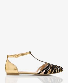 Mirrored T-Strap Flats | FOREVER21