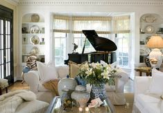 Splendid Sass: JOY THIBOUT ~ INTERIOR DESIGN... so beautiful. I've always wanted a baby grand piano in front of a huge window. This room is GORG