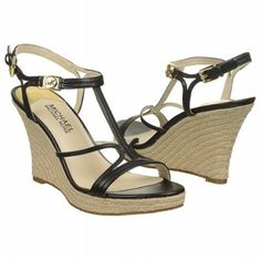 Women's MICHAEL MICHAEL KORS Cicely Wedge Black Leather Shoes.com