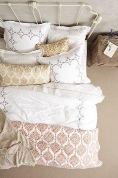 Cozy bedding -- love the soft neutrals and the patterns! http://rstyle.me/n/wai6in2bn