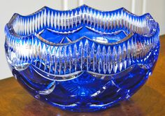 Cobalt blue cut crystal bowl, Faberge Cased Cut to Clear.