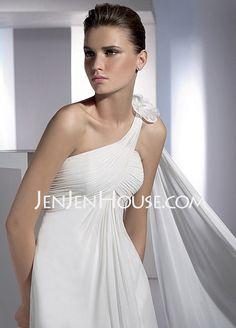 So pretty!!! Wedding Dresses - Sheath/Column One-Shoulder Watteau Train Chiffon  Charmeuse Wedding Dresses With Ruffle (002000574) http://jenjenhouse.com/Sheath-Column-One-shoulder-Watteau-Train-Chiffon--Charmeuse-Wedding-Dresses-With-Ruffle-002000574-g574 147.99