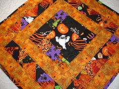 Halloween Table Topper Quilt Table Runner  Orange by KeriQuilts