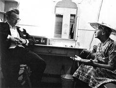 Hedda Hopper visits James Dean in his dressing room during the filming of Giant which was released after his death. Hedda Hopper, Old Hollywood Actors, Jimmy Dean, Vivien Leigh, Ali Larter, Rebel, Dressing Room, Live, September 9