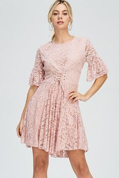 Carli Corset Detailed Lace Pink Dress