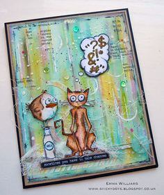 Take A Chance... When Bird Crazy Met Crazy Cat using products by Tim Holtz and Ranger Ink