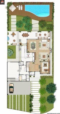 3 Bedrooms Home Design meters - Home Ideas Modern House Floor Plans, Pool House Plans, New House Plans, Small House Plans, Interior Design Presentation, Small Space Interior Design, Home Room Design, Villa Design, Duplex Design