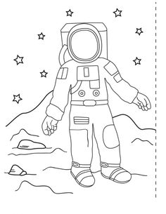Add color to the pictures of the astronaut and outer space then use scissors and tape to turn your artwork into a placemat. Planets Activities, Science Activities, Classroom Activities, Space Activities, Toddler Activities, Earth And Space Science, Science For Kids, Space Theme Preschool, Neil Armstrong