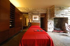 fallingwater- Mr Kaufman's bedroom with the oldest know butterfly chair next to the fireplace