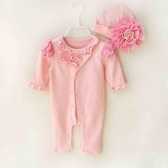 ba93c8af6b3d8 Newborn Cute Floral Cotton Baby Girl Rompers Infant Lace Bow-Knot  Romper+Hat Children Clothes Sets Long Sleeve Jumpsuit