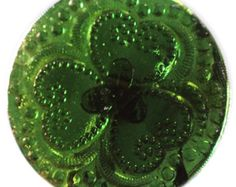 Old Green Lacy Glass Button - Medium