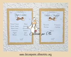 COUNTRY CHIC Tableau e Segnatavolo  COUNTRY CHIC Table plan & Place Cards