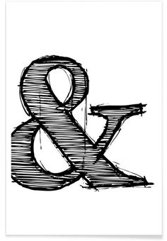 Naxart 'Ampersand Poster Framed Graphic Art Print Size: H x W x D Canvas Wall Art, Canvas Prints, Art Prints, Poster Online, Art Graphique, Graphic Art, Typography, Artwork, Canvas Size