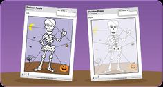 "FREE download - Skeleton Puzzle! Color, cut, make a puzzle, and do ""The Skeleton Dance""! 2 different levels to choose from. #Halloween #craft #SuperSimple"