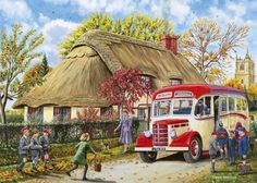 500 - 750 piece jigsaw puzzles from world renowned artists! Medium difficulty puzzles are great for casual puzzlers and some quality time with your family! Cute Illustration, Watercolor Illustration, Bus Art, Nostalgic Art, Ocean Pictures, Library Design, Illustrations, Watercolor Landscape, The Good Old Days