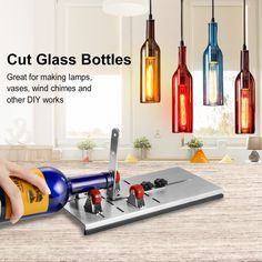 Cut Beer Bottles, Wine Bottle Fence, Cutting Glass Bottles, Beer Bottle Crafts, Recycled Glass Bottles, Bottle Art, Beer Bottle Glasses, Diy Bottle, Bottle Cutter