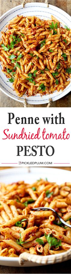 Penne With Sun Dried Tomato Pesto - get dinner on the table in 15 minutes with this delicious penne with sun dried tomato pesto recipe. Recipe, pasta, Italian food, main, noodles, vegan | pickledplum.com