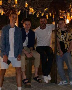 Brooklyn Beckham, David Beckham, Posh And Becks, Yellow Crocs, Gold Swimsuit, Dame Joan Collins, Kitty Spencer, Chloe Sims, The Beckham Family