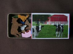 Miniature Farm Animal Wood Match Box Set. 16.99, via Etsy.