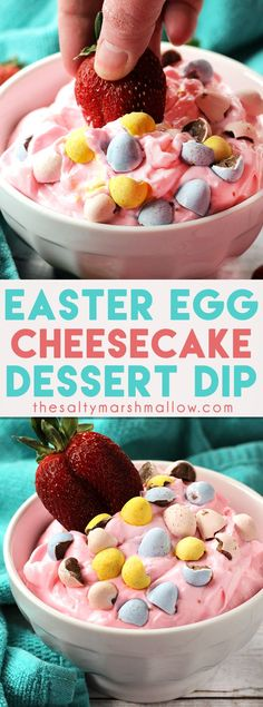 Easter Egg Cheesecake Dip is the perfect colorful and flavorful dip for your Easter gathering! With only a handful of ingredients, this sweet dessert dip comes together in a snap and is delicious with your favorite fruits! Easter Cheesecake, Cheesecake Desserts, Köstliche Desserts, Holiday Desserts, Holiday Recipes, Delicious Desserts, Spring Recipes, Holiday Drinks, Holiday Ideas