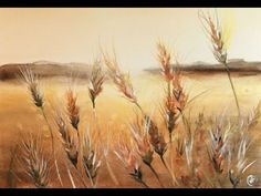 Watercolor Fields of Wheat Painting Demonstration Watercolor Video, Watercolor Sunset, Watercolor Landscape Paintings, Watercolour Tutorials, Watercolor Techniques, Watercolour Painting, Bird Paintings, Indian Paintings, Watercolor Portraits