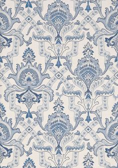 SAKARA, Blue and White, T1045, Collection Menswear Resource from Thibaut wallpaper blue Blue And White Fabric, Blue Fabric, Fabric Wallpaper, Pattern Wallpaper, Royal Pattern, Victorian Wallpaper, Bathroom Wallpaper, Damask Bathroom, Damask Wall